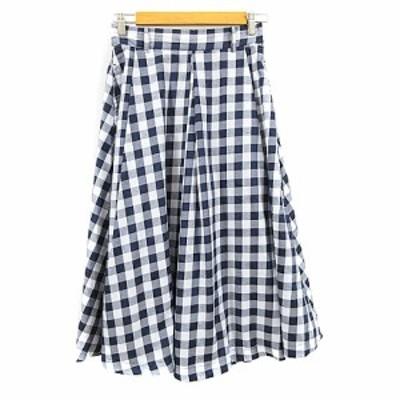 【中古】レイカズン Ray cassin FAVORI スカート フレア ミモレ ロング チェック タック F 紺 ネイビー レディース