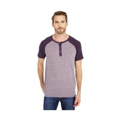 Threads 4 Thought スレッドフォーソート メンズ 男性用 ファッション Tシャツ Color-Block Raglan Short Sleeve Henley - Dark Plum/Blackberry