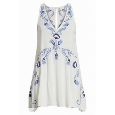 Free People フリーピープル ファッション ドレス Free People Womens Dress Blue White Size Medium M Slip Embroidered