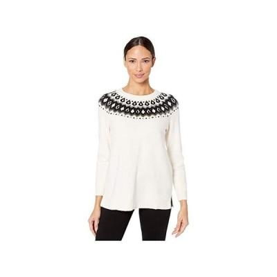 Vince Camuto Long Sleeve Embellished Yoke Jacquard Sweater レディース セーター Antique White