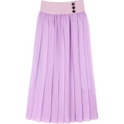 シアーチェックカラースカート パープル