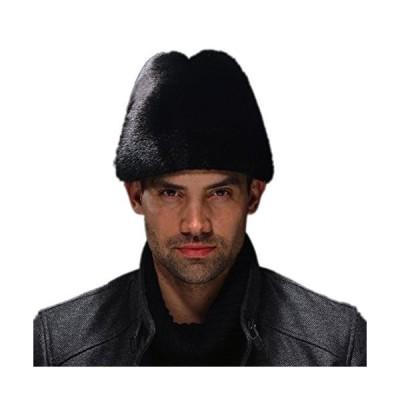 URSFUR Men's Mink Fur Fedora Hat (Black)【並行輸入品】