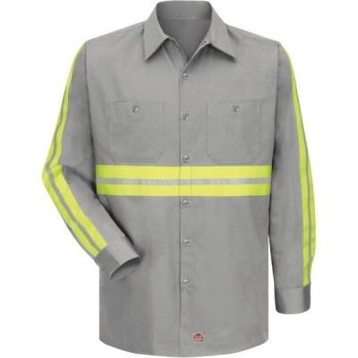 レッドキャップ シャツ トップス メンズ Red Kap Men's Enhanced Visibility Long Sleeve Cotton Work Shirt Gray/Yellow