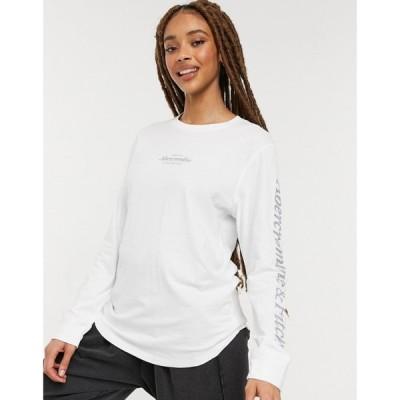 アバクロンビー&フィッチ Abercrombie & Fitch レディース 長袖Tシャツ ロゴTシャツ Logo Sleeve Crew Neck Long Sleeve T Shirt In White ホワイト