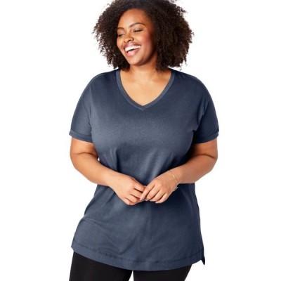 レディース 衣類 トップス Woman Within Women's Plus Size Longer Length Cuffed V-Neck Tunic グラフィックティー