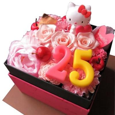 結婚記念日 記念日 周年祝 プレゼント キティ 数字入り 花 フラワーギフト ボックスフラワー プリザーブドフラワー