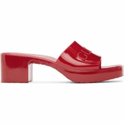 グッチ Gucci レディース サンダル・ミュール シューズ・靴 Red Rubber Logo Mules Red
