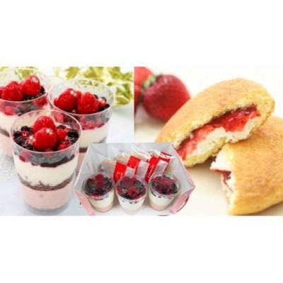 苺のチーズケーキとクリームどら苺  北海道・新ひだか町のオリジナルスイーツ