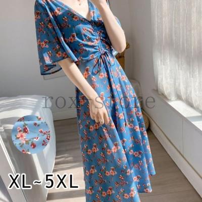 ワンピースレディース40代キレイめマキシワンピース春夏体型カバー着痩せ大きいサイズ韓国風ゆったり可愛い花柄ロング丈おしゃれ大人30代50代