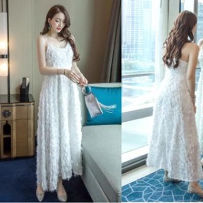 大きいサイズ ロングドレス 演奏会 パーティードレス 結婚式 マキシ丈 ワンピース ドレス ノースリーブ 白ドレス フェザー