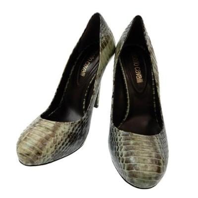 美品 ロベルトカヴァリ roberto cavalli パイソンレザー ラウンドトゥ パンプス 靴 size35 M02962