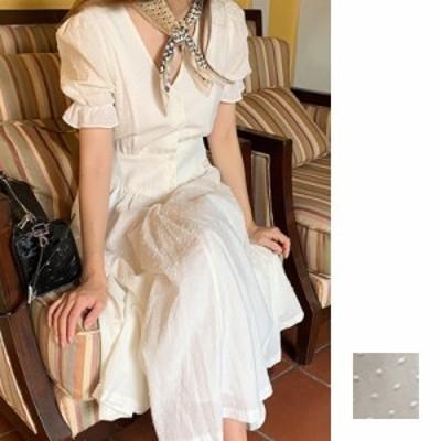 韓国 ファッション レディース ワンピース 夏 春 カジュアル naloI408  シアー 刺繍 ウエストマーク フロントボタン シンプル コーデ 定