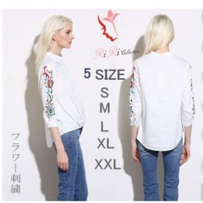 新作 shirt-f001 レディスシャツ 通勤 オフィス シフォン 花柄 刺繍 大きいサイズ しろ白S-XXL