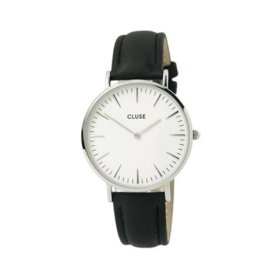 腕時計 クルース Cluse CL18208 Women's Quartz White Dial Black Leather Strap Watch