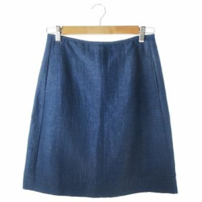 【中古】Sマックスマーラ 'S Max Mara スカート タイト ひざ丈 麻混 リネン混 シルク混 絹混 ボーダー 36 青 ブルー