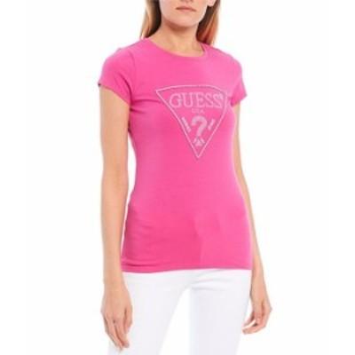 ゲス レディース Tシャツ トップス Short Sleeve Embellished Triangle Logo Graphic Tee Neon Magenta