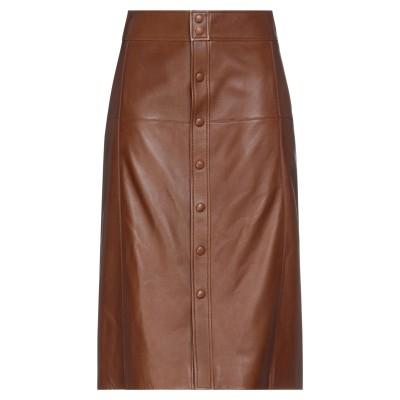 SAINT LAURENT ひざ丈スカート ブラウン 38 羊革(ラムスキン) 100% ひざ丈スカート