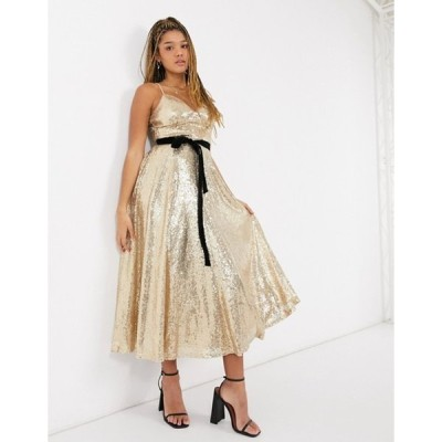 フォーエバー ユー レディース ワンピース トップス Forever U sequin cami skater midi dress with contrast bow in gold