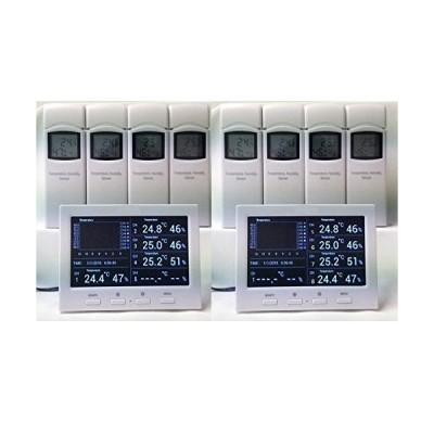 デジタル 温湿度計 8地点デラックスパッケージ ワイヤレス計測 表示用液晶本体2台付 SDカード記録保存可能 HACCP