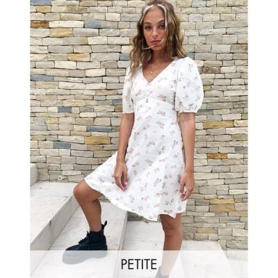 ニュールック ミディドレス レディース New Look Petite puff sleeve mini linen tea dress in pale pink floral エイソス ASOS ピンク