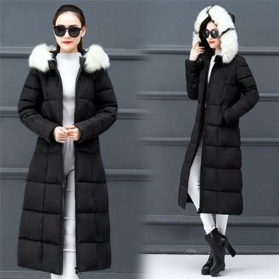 中綿コート レディース ダウン風コート 中綿ジャケット ロング丈 ロングコートフード付き 防寒 着痩せ あったか アウター おしゃれ 大きいサイズ ファー付き