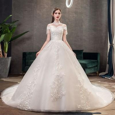 ウエディングドレス レディース プリンセスドレス 編み上げ ブライダルドレス 花嫁 Aライン トレーン 演奏会 ドレス 前撮り ドレス