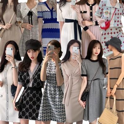 【今日新作追加】3枚+1枚5枚+2枚2021new夏高品質ワンピース先着限定SALEニットワンピース韓国ファッション着痩せワンピース限定発売上品着回し抜群Vネック セーターニットドレスロングスカート