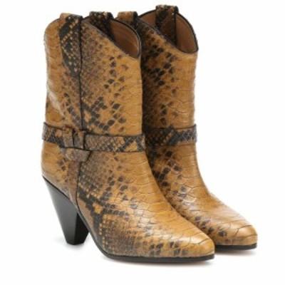 イザベル マラン Isabel Marant レディース ブーツ カウボーイブーツ シューズ・靴 Deane snake-effect cowboy boots Yellow