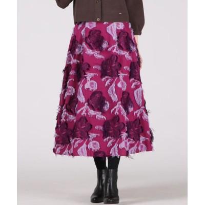Viaggio Blu/ビアッジョブルー フラワージャガードタックフレアスカート ピンク XS