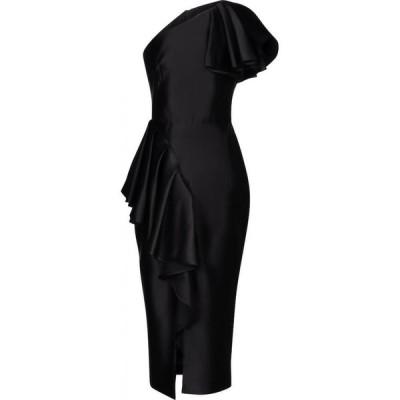 ロサリオ RASARIO レディース パーティードレス ミドル丈 ワンピース・ドレス asymmetric stretch-satin midi dress Black