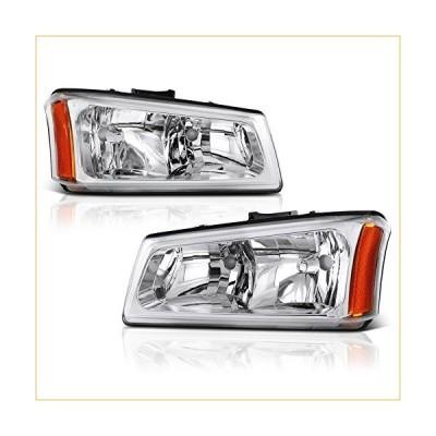 VIPMOTOZ For 2003-2006 Chevy Silverado 1500 2500 3500 Headlights - [Factory Style] - Metallic Chrome Housing, Driver and Passenger Side 並行輸入