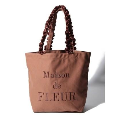(Maison de FLEUR/メゾンドフルール)帆布ロゴ刺繍フリルハンドルトートバッグ/レディース ブラウン