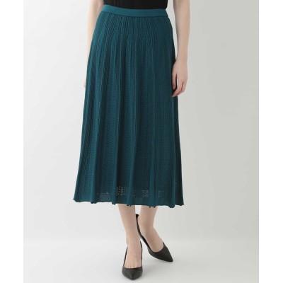 (CHRISTIAN AUJARD/クリスチャン オジャール)透かし編みデザインニットスカート/レディース グリーン