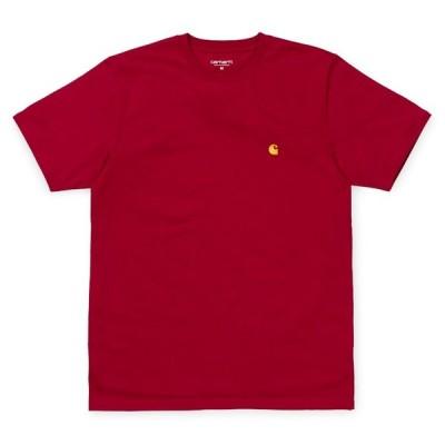 カーハート メンズ チェイス 半袖 Tシャツ カーディナル/ゴールド ルーズフィット CARHARTT WIP S/S CHASE T-SHIRT CARDINAL/GOLD I026391