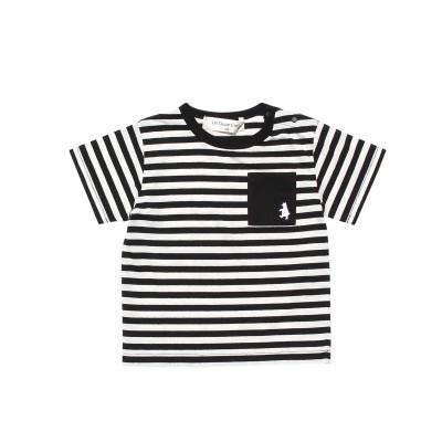 【Un Deux Carjo アンドゥーカージョ】ベビーサイズ 綿100%ボーダー柄クマ刺繍Tシャツ