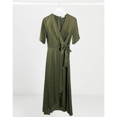 クローゼットロンドン レディース ワンピース トップス Closet satin pleated midi wrap dress in khaki