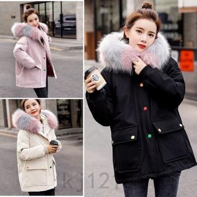 中綿コートレディースフード付きミドル丈ゆったり大きいサイズオーバーサイズ厚手コート中綿パーカーコートロング20代30代40代