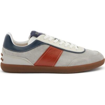 トッズ Tod's メンズ スニーカー シューズ・靴 Heel-pebble suede and leather trainers Grey