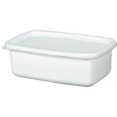 (まとめ) ホーローフードストッカー/琺瑯保存容器 〔ホワイト 角型 M〕 キッチン用品 〔×24個セット〕