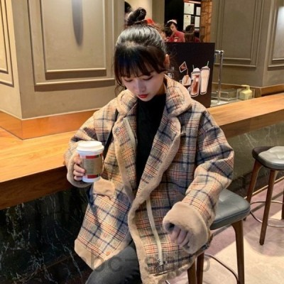 ボアブルゾンジャケットレディースおしゃれ冬アウターチェック柄韓国大きいサイズ高校生中学生ボアジャケット30代タータンチェック