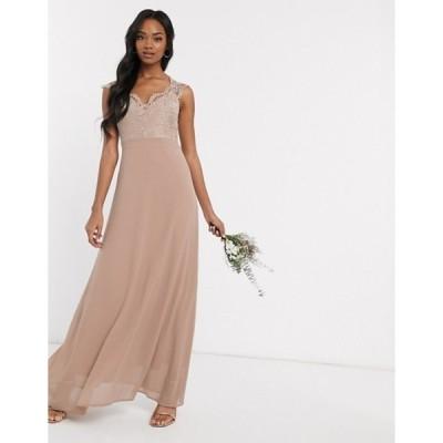 ティエフエヌシー レディース ワンピース トップス TFNC Bridesmaid scalloped lace top dress in mink