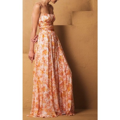 ワンピース キャロラインコンスタス Caroline Constas LONG PRINTED Maxi SILK DRESS Orange White  XS S M L