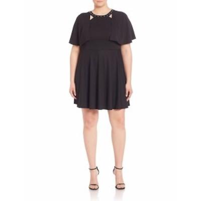 ABS プラスサイズ レディース ワンピース Studded Cape Overlay Dress