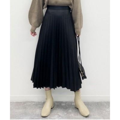 スカート 《setupにも》フェイクレザープリーツスカート