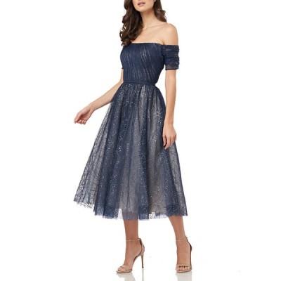 カルメンマークバルボ レディース ワンピース トップス Off-the-Shoulder Sparkle Tulle Party Dress with Cuff Sleeves