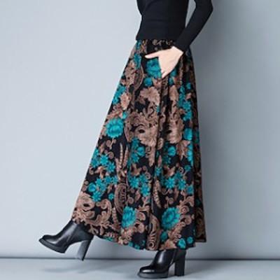 レトロ フレアスカート ミモレ丈 ロング 大きいサイズ 冬 ロングフレアスカート 【T004-HALN0672】