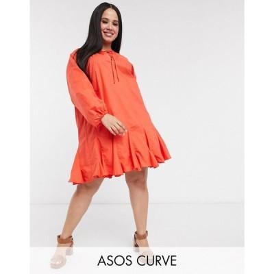 エイソス ASOS Curve レディース ワンピース ミニ丈 ワンピース・ドレス ASOS DESIGN Curve trapeze cotton poplin mini dress with godets in red レッド