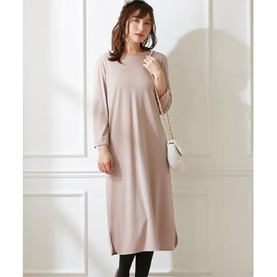 薄手カットソー素材スリットデザイン7分袖ワンピース (ワンピース)Dress