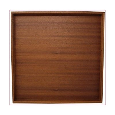 19x19 Inch Large Ottoman Tray?Square Vintage Wood Decorative Serving Tray For Coffee Table-Rustic Wooden Breakfast Trays For Kitchen, Dini