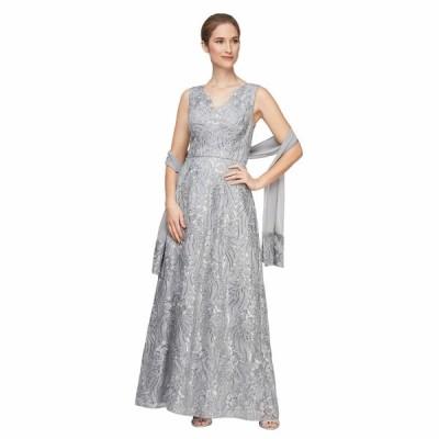 アレックスイブニングス ワンピース トップス レディース Long Embroidered Sleeveless V-Neck Dress Silver